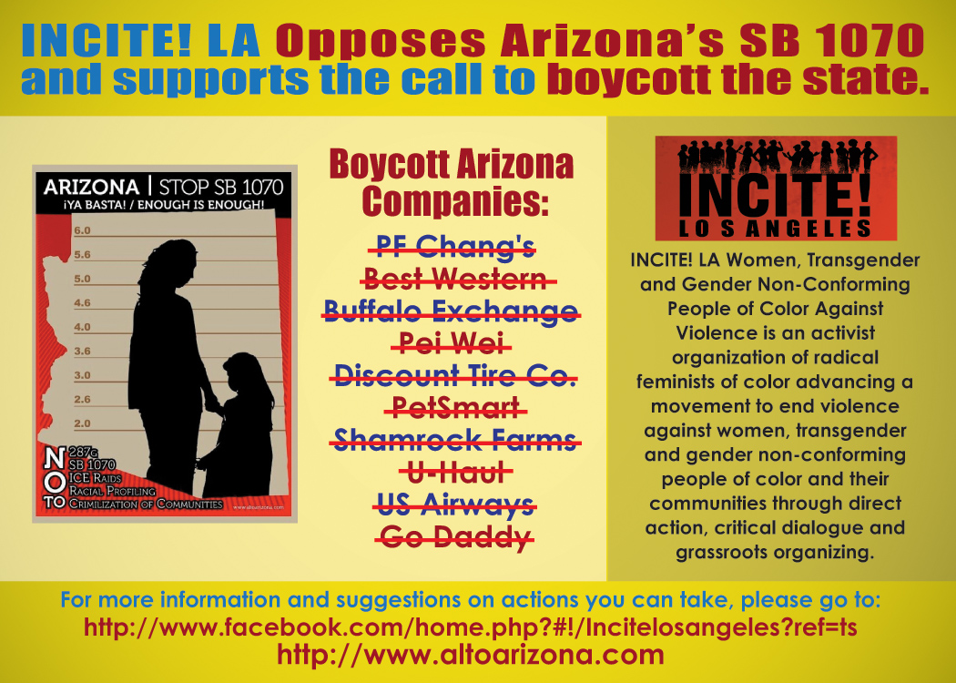 INCITE! LA Opposes Arizona's SB 1070