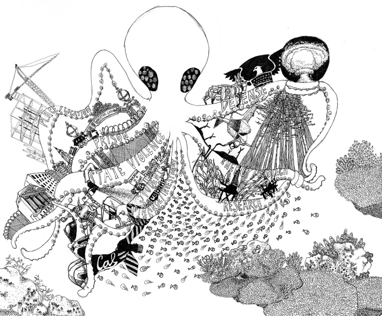 "The Octopus, drawing by Nicci Yin Created as part of the presentation ""The Octopus: Cognitive Capitalism and the University"" with Natalia Cecire and Miriam Neptune at The Scholar & Feminist 2015: Action on Education"